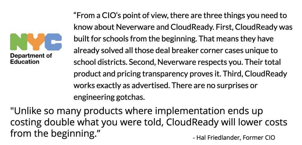 Hal Friedlander, former CIO, NYC DOE testimonial