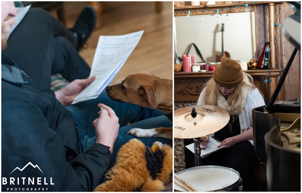 Lots of notes being made on sheet music, and even David's dog wanted to join in.