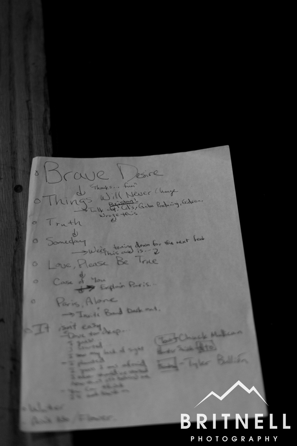 Set list for the night.