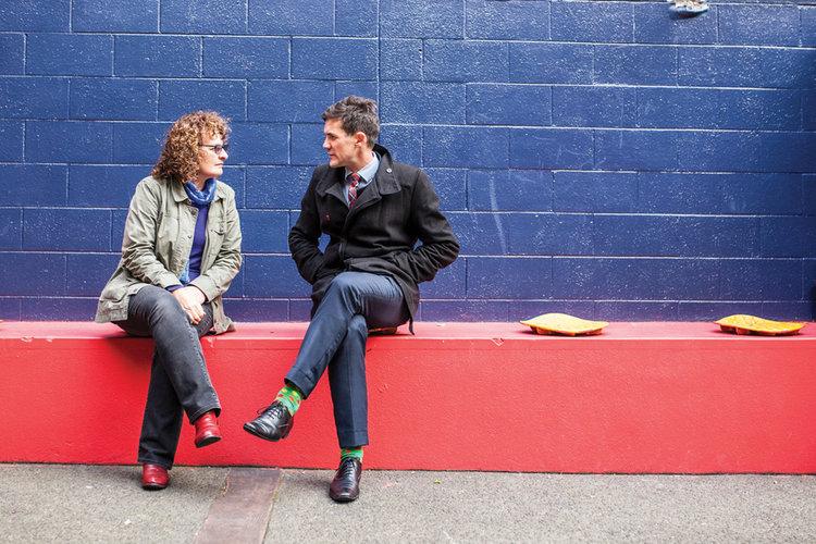 Stephanie McIntyre and Wellington Mayor Justin Lester talk outside DCM's building on Lukes Lane