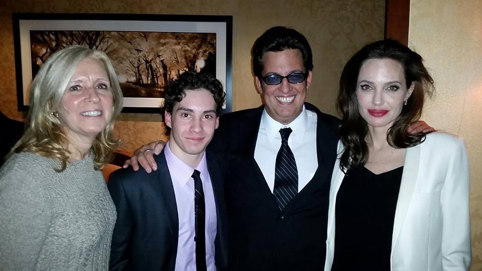 Artistic Director Ralph Colombino with long time student John D'Leo at the premier of 'Unbroken'. Pictured with the films director Angelina Jolie and manager Eileen Denobile of Nobile Talent Management.  John has been taking acting lessons at Actors Playground School of Theater in New Jersey for many years.