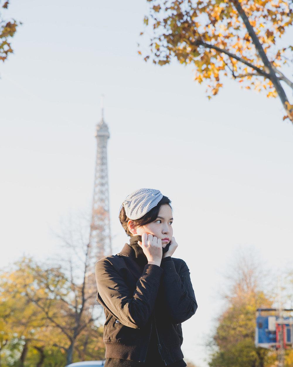 Outfits: (Jacket)  Uniqlo  (Top) G  rana  (Pants) mukmuk: wardrobe  (Shoes)  Anthology Paris  (Headpiece) Karin Cogen Millinery