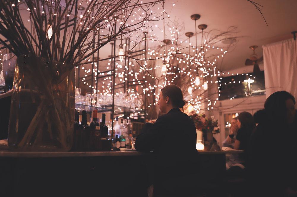 A beautiful bar corner inside Vin et Fleurs.