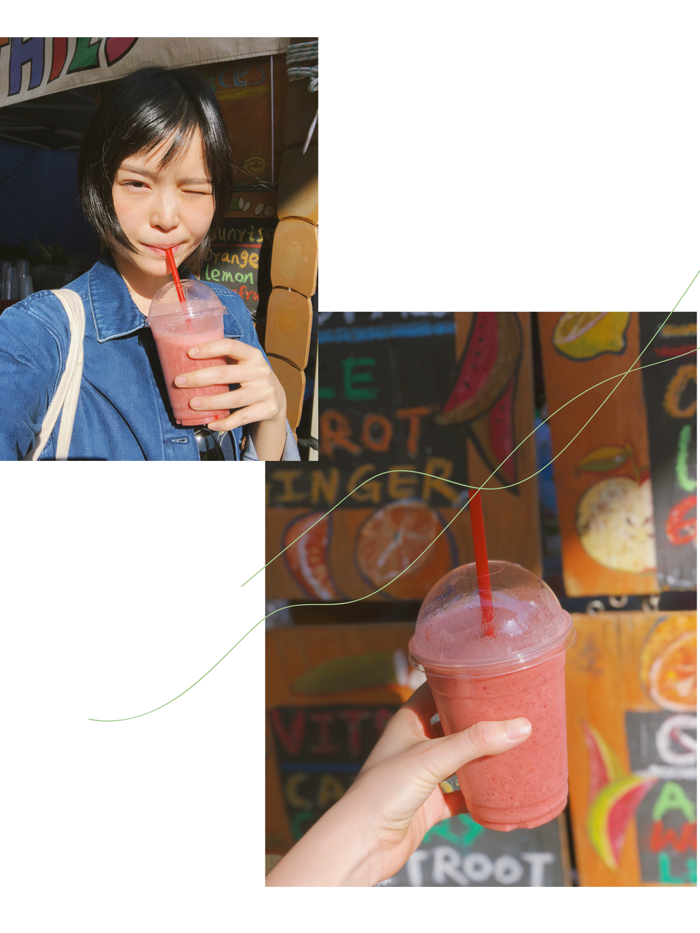 Having a fruit smoothie in a market in Sydney.
