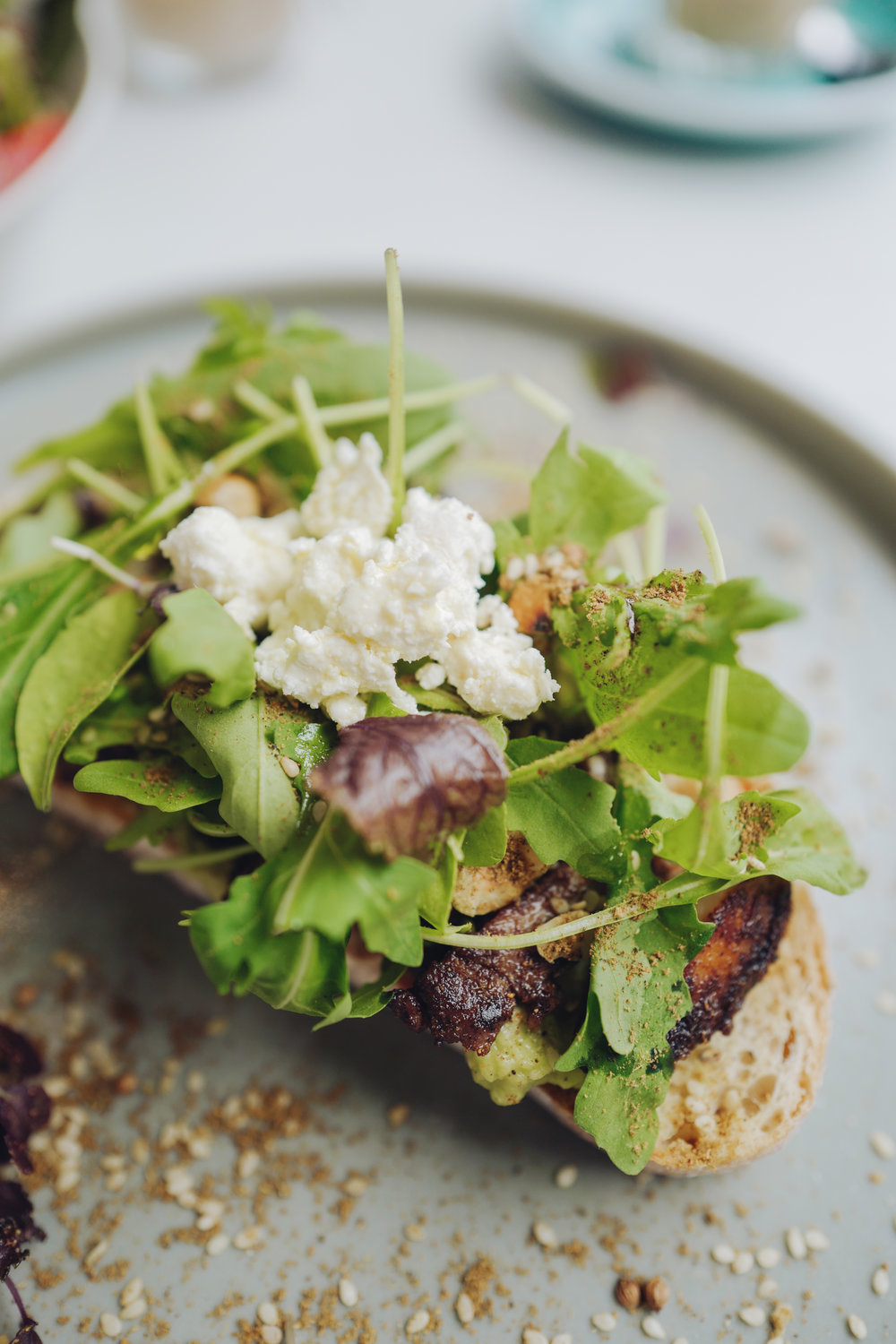 (Meat)  Chicken & Dukkah on Sourdough  with Smashed Avocado, Rocket & Feta.