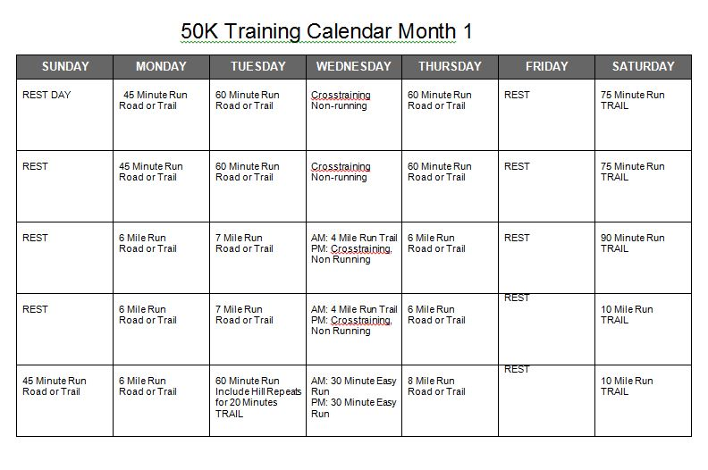 50k training calendar month 1.JPG