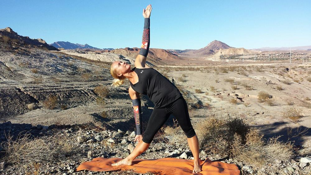 Exhaling and bending laterally from the hip and ending up in the pose.