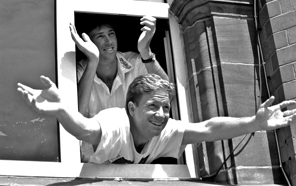 Glenn McGrath & Ian Healy applauding Steve Waugh's second century of the third Test, Manchester, July 1997