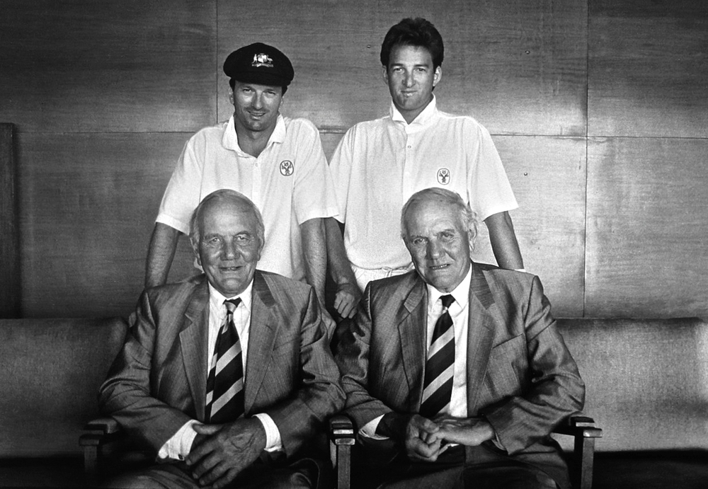 Steve & Mark Waugh with Eric & Alec Bedser, Adelaide, January 1994
