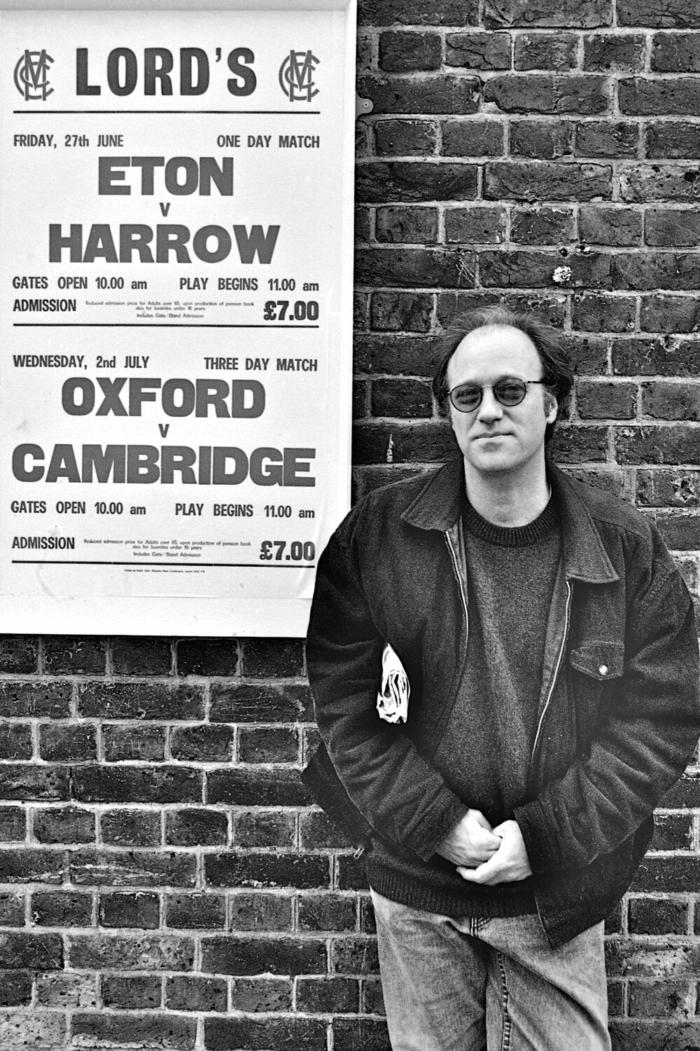 Mike Marqusee (1953-2015) author, journalist, outside Lord's, June 1997