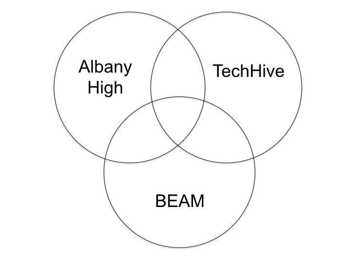 This project became a great collaboration between three educationalorganizations: Albany High School; theTechHive, a design studio at the Lawrence Hall of Science; and Berkeley Engineers and Mentors (BEAM), an after school program run by UC Berkeley undergraduates.