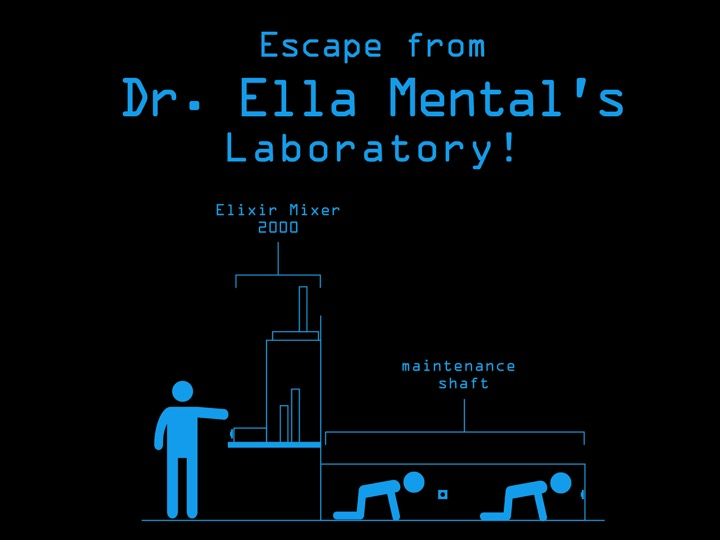 The name of the Haunted House was Escape from Dr. Ella Mental's Laboratory! The majority of the planning and production went into this attraction.