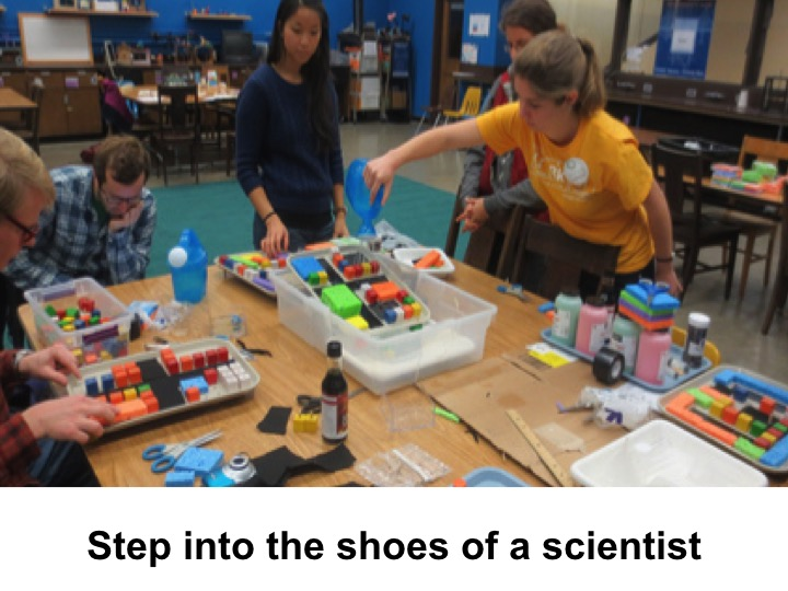 Because after working at the Lawrence Hall of Science, we learned that it's important to get the visitors to step into the shoes of a scientist...