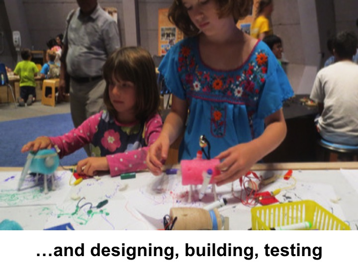 ... and to get the visitors todesign, build, and test. These behaviors, which seem like play in some contexts,are the same behaviors the scientists and engineers engage in every day in their lives and their work.
