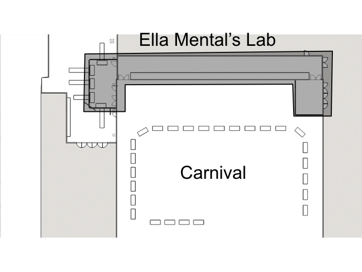 The two main parts of the Town of Terror were the main attractionDr. Ella Mental's Laband the Carnival.