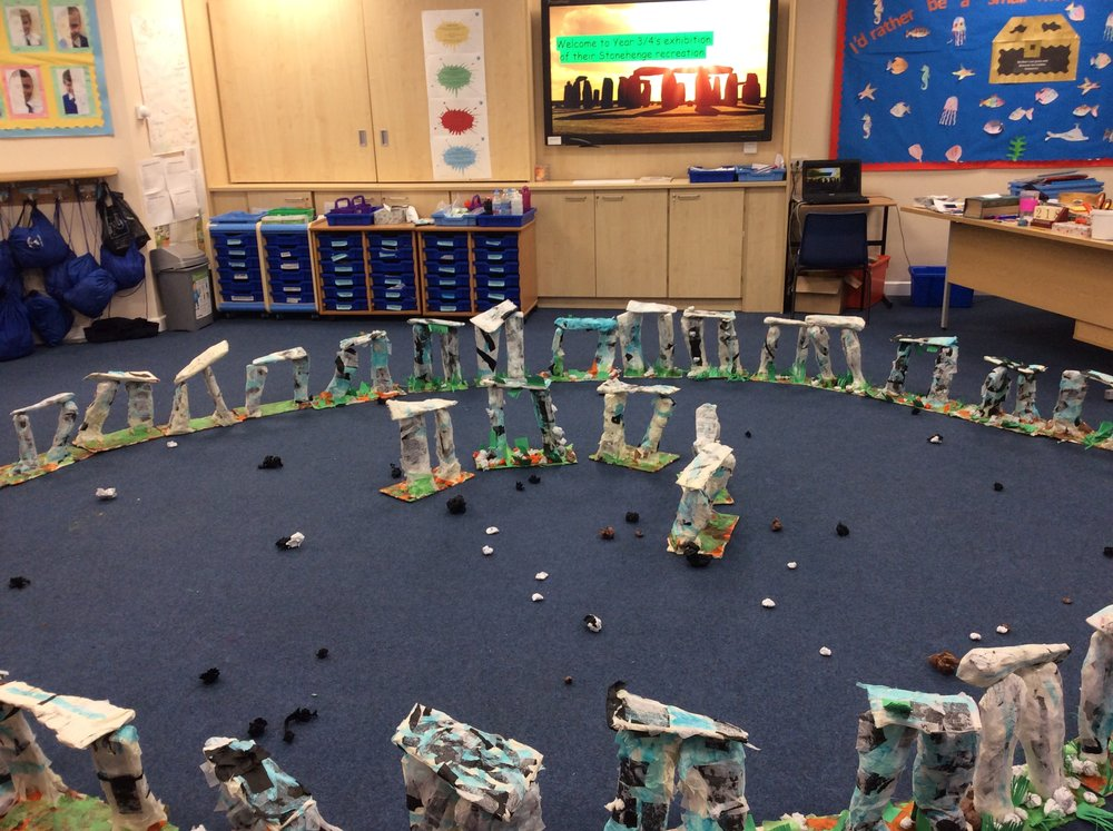 All of year 3/4 really enjoyed creating their own individual 3D models of part of Stonehenge this term but it was fantastic to see all of our hard work come together when we created this complete replica of the landmark in class last week. Can you spot yours?