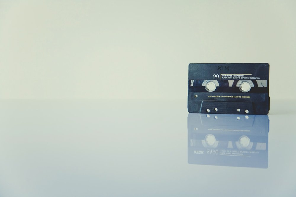 The way music used to be distributed...on old tapes.