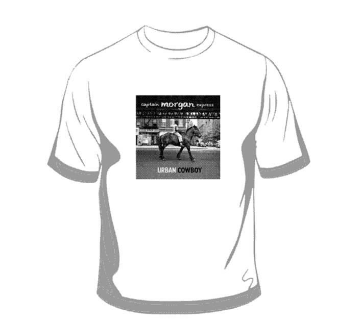 Wit T-shirt met cd hoes Urban Cowboy, € 10,=. Dames maten: S, M, L, XL. Herenmaten: S, M, L, XL, XXL   T-shirts zijn momenteel compleet uitverkocht!