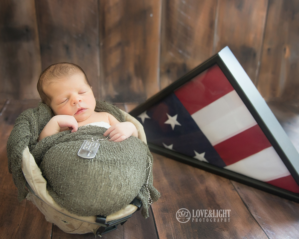 Harper's Dad served in Afghanistan & Iraq in the same Helmet that Harper is sleeping in! The American flag flew overhead when Rob served selflessly as a Marine for our great country.  Thanks to Rob and all of the men and women that serve and protect our great country.