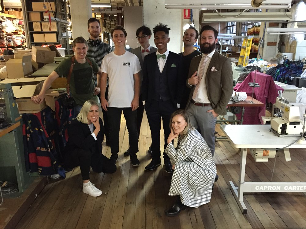 Behind the scenes on Phillip's Shirts factory floor for with the Dapper Team for our Transitions Collection photoshoot.