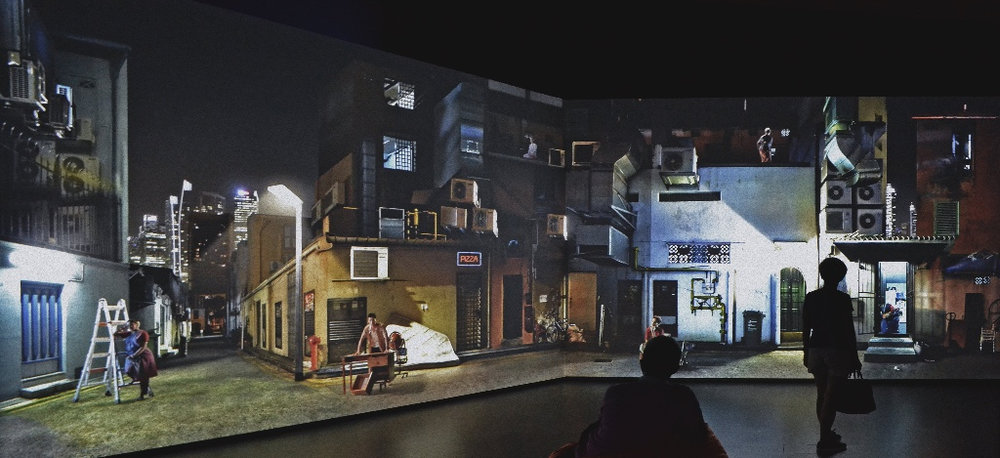 Sarah Choo Jing.  The Art of Rehearsal , 2016.  Panoramic video projection of a composite of back alleys in Singapore at three separate city locations: Chinatown / Little India / Kampong Glam  Video installation of part one -panoramic projection on view at National Gallery Singapore - Gallery 10