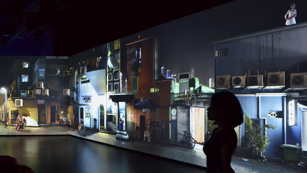Sarah Choo Jing.  The Art of Rehearsal , 2016.   Panoramic video projection of a composite of back alleys in Singapore at three separate city locations: Chinatown / Little India / Kampong Glam  Video installation of part one -panoramic projection on view at National Gallery Singapore - Gallery 10.