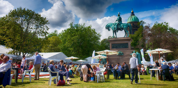 A past Edinburgh Book Festival in full swing