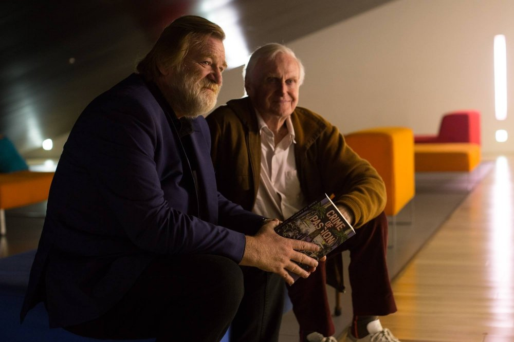 John Boorman and Brendan Gleeson pose for a photo.