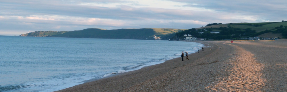 The beach at Slapton Ley, looking towards Start Point lighthouse. (photo © Rob Dudley)
