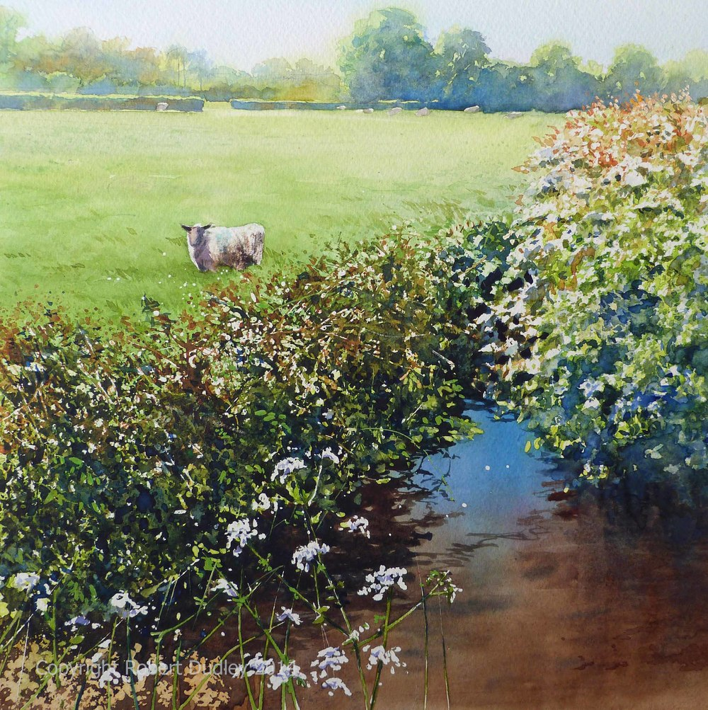 Where Sheep May Safely Gaze Watercolour 22'' x 22''                         £595 through  Davidson Fine Art Totnes