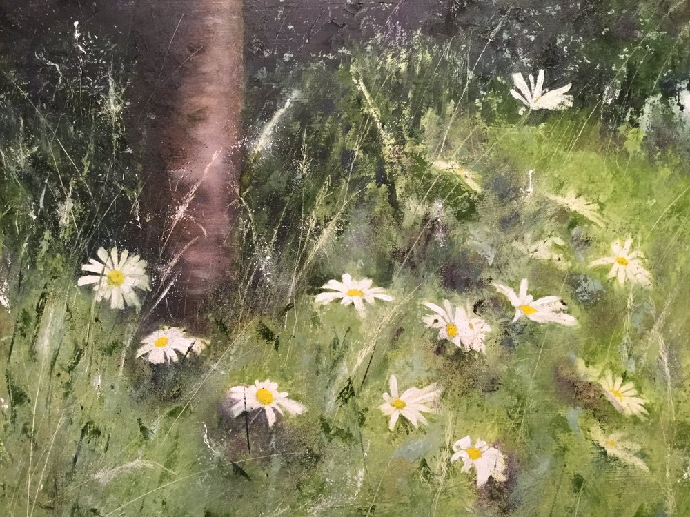 'Wayward Daisies' by Siân Dudley. Oil on board. A watercolour version of this painting features in Sian's Book.