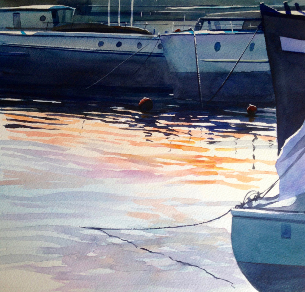 'Woodbridge at Sunset' by Rob Dudley . Watercolour . This painting appears in Rob's book.