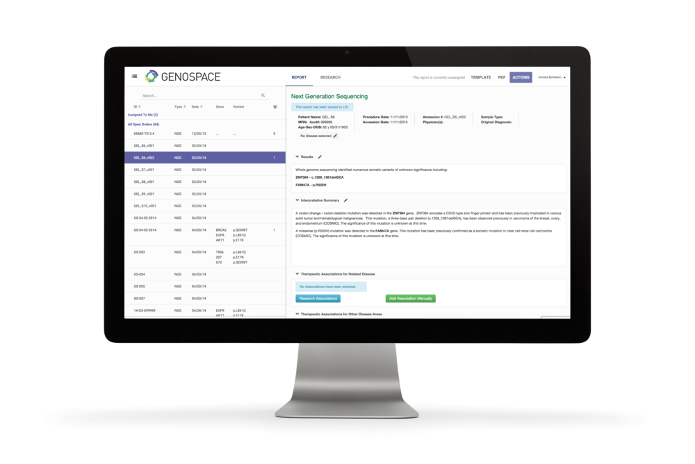 Genospace FullView: Molecular pathology reporting