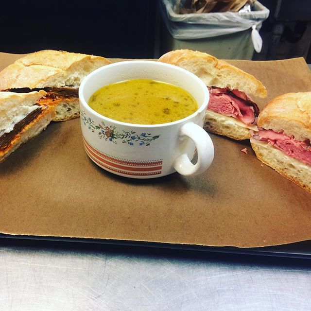 When I dip you dip we dip: Roast beef, Swiss, red onion, and a lil mayo on a crusty French roll....and a delightful mushroom au jus.  Also available, the vegan version, house agave smoked ham, roasted red pepper cashew cheese, red onion, a lil garlic aioli on a crusty French roll...and a delightful mushroom au jus.  https://youtu.be/dZPQdZLyHYE