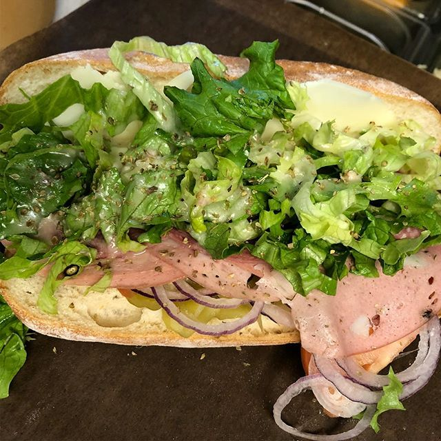 Listening to Italian disco all week for the special!!! The Giorgio Moroder: pistachio mortadella, hard salami, provolone, mayo, tomato, red onion, peperoncini, house pickled jalapeños, shredded lettuce dressed with oil and vinegar, topped with oregano, served on a French roll.  Make it part of your g.t.l. Routine.  AND YUP, we can make that mess a vegan mess.