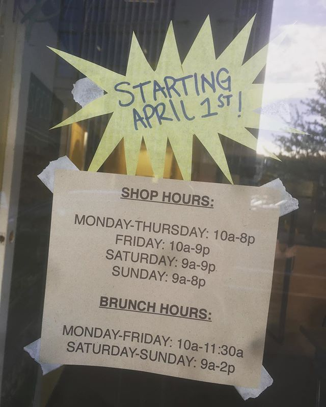HEY YALL! That's right, as the days have grown longer, so too have our hours! Open until 8pm on school nights, and 9pm on weekends!! Come in and have a nice warm panini on those cool spring nights, or a cold, fresh sandwich on a warm afternoon. We can't wait to see your faces more~~ #summerhours #brasstackssandwiches #thisisnotaprank
