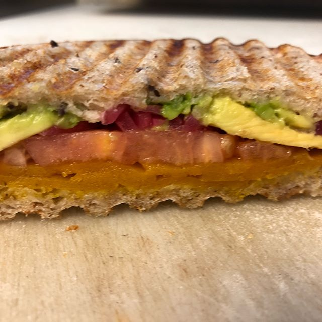 Now on special! Our house made carrot cheese*, avocado, pickled red onion, and tomato, served toasted on multigrain while supplies last. *gluten free, soy free, nut free, delicious