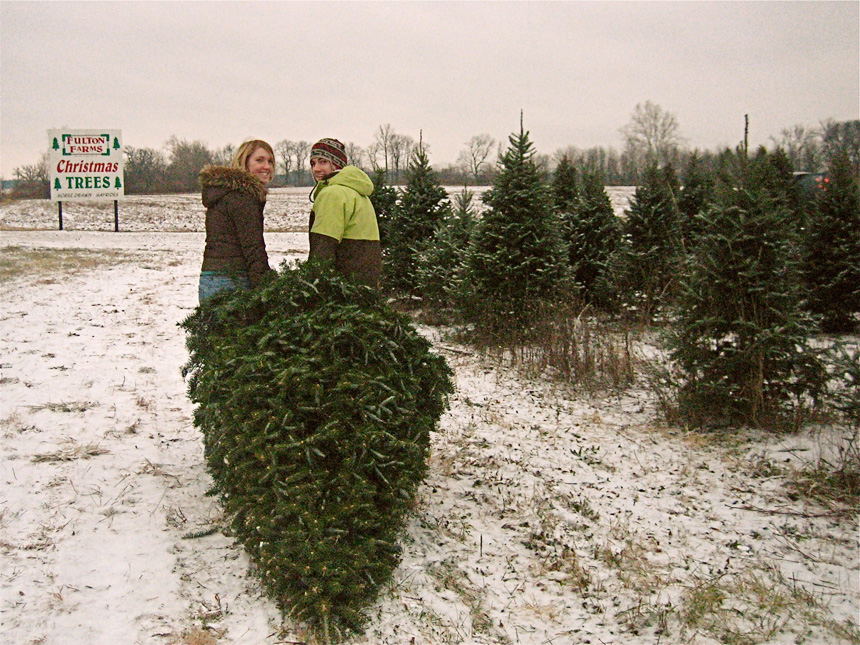 A Couple Cutting Down Their Christmas Tree