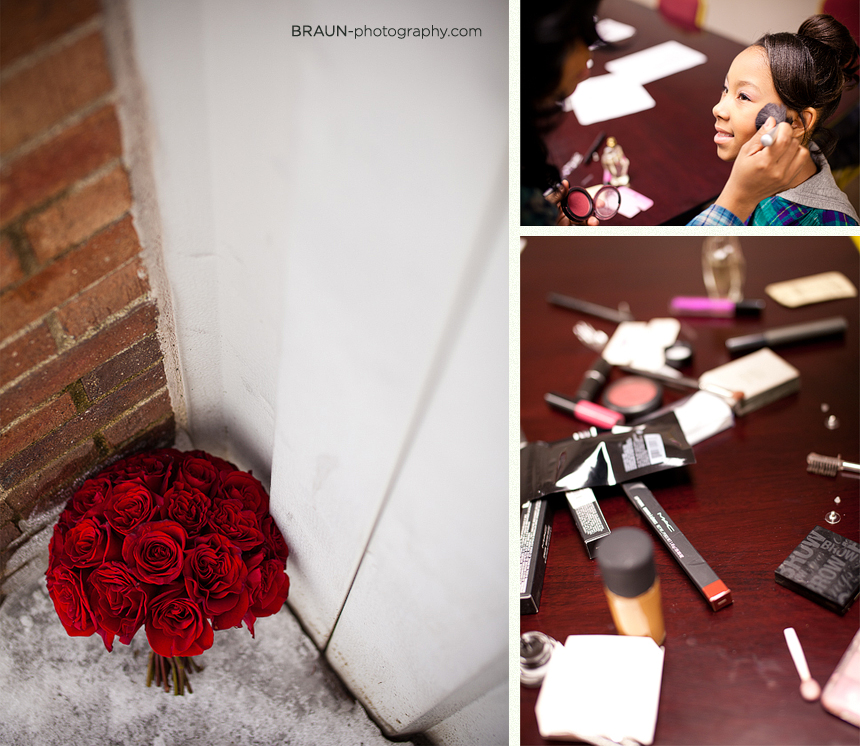 Columbus Ohio Wedding Photographer :: Wedding Bouquet and Applying Makeup