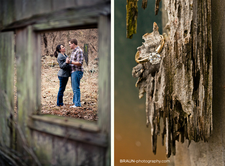 St. Louis Engagement Photographer :: Environmental Framing and Ring Detail