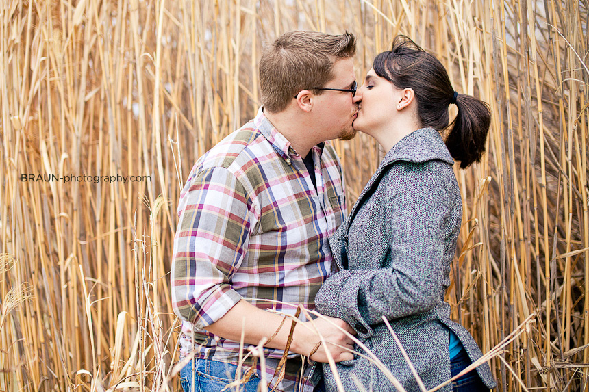 St. Louis Engagement Photographer :: Tall Grass Kiss