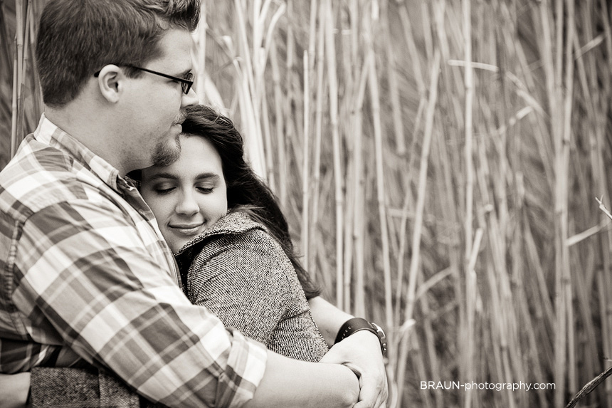 St. Louis Engagement Photographer :: Tall Grass Black and White
