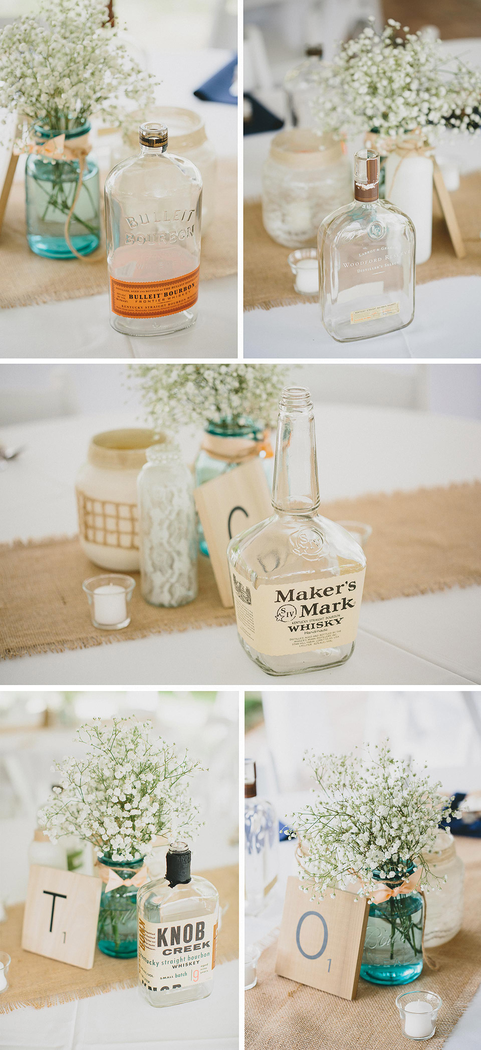 Mason Jars, Burlap, and Bourbon Bottle Center Pieces