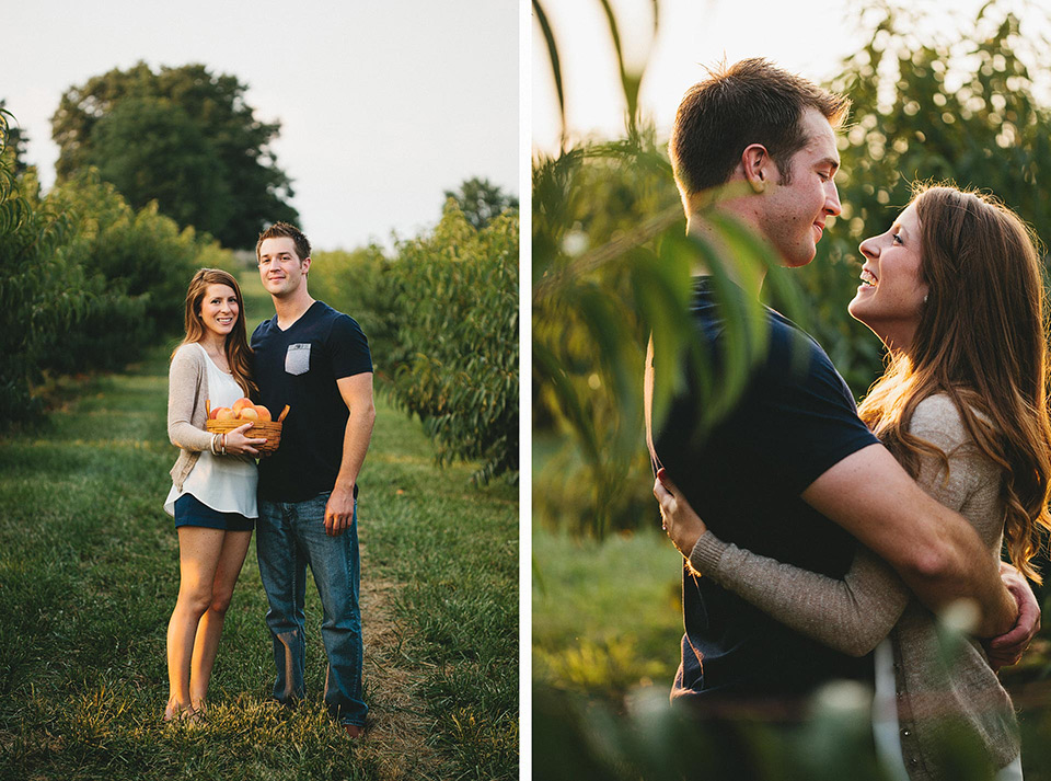 Saint Louis Missouri Peach Picking Engagement Session