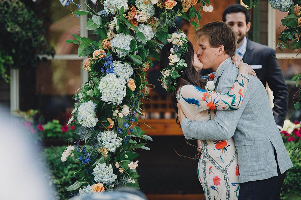 Ohio English Garden Wedding Kiss