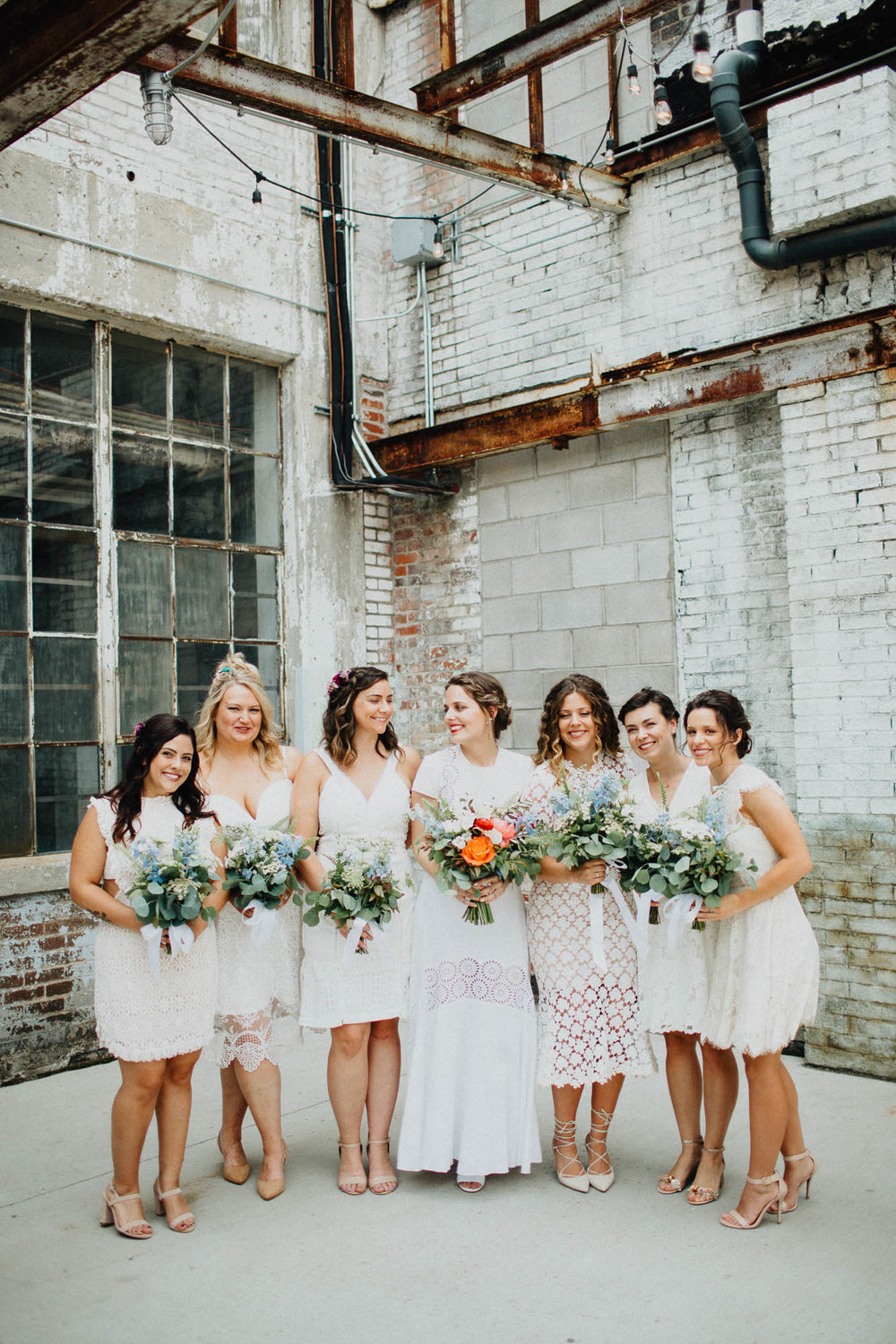 Beautiful Modern Bridesmaids at a Strongwater Wedding in Columbus, Ohio