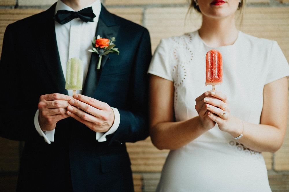 J-Pops Popsicle Wedding Detail in a Stella McCartney Gown
