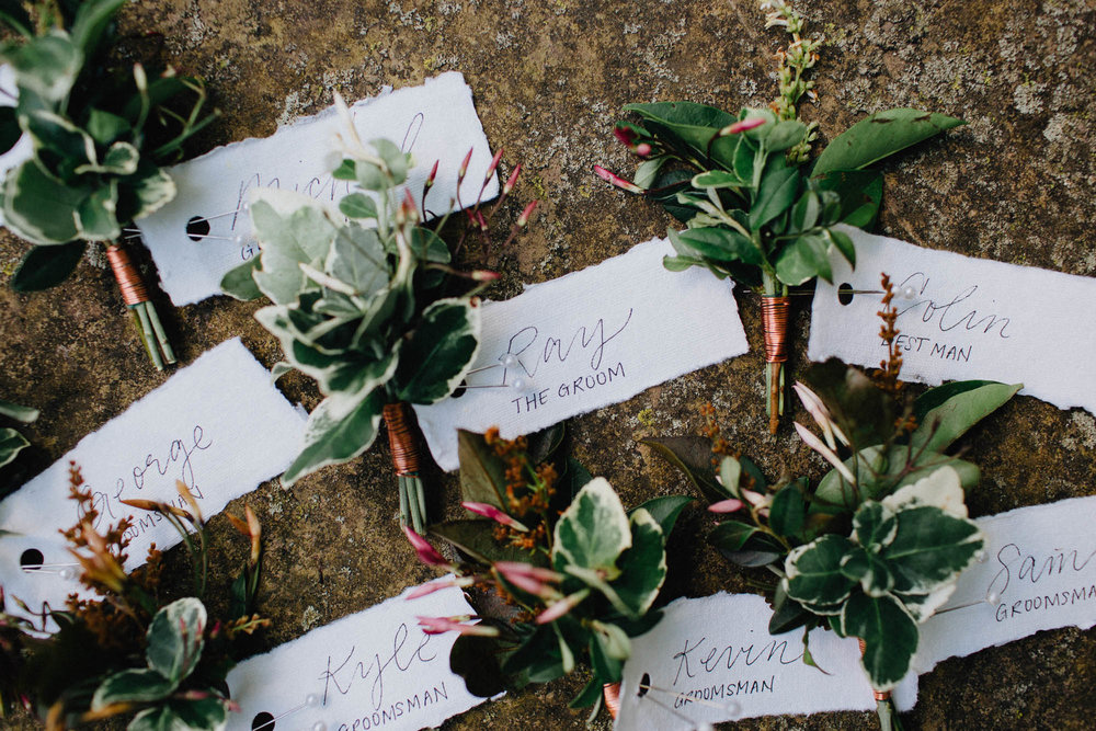 Handmade Groomsmen Boutonnieres by Evergreen Floral Co.