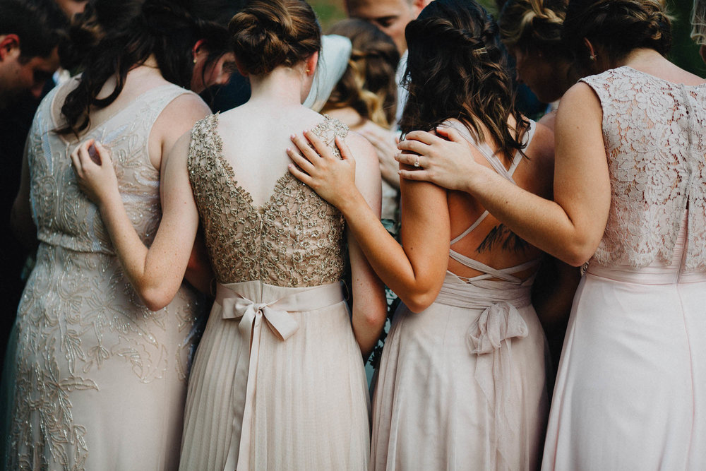 Bridesmaids Pray During an Outdoor Wedding Ceremony in Ohio
