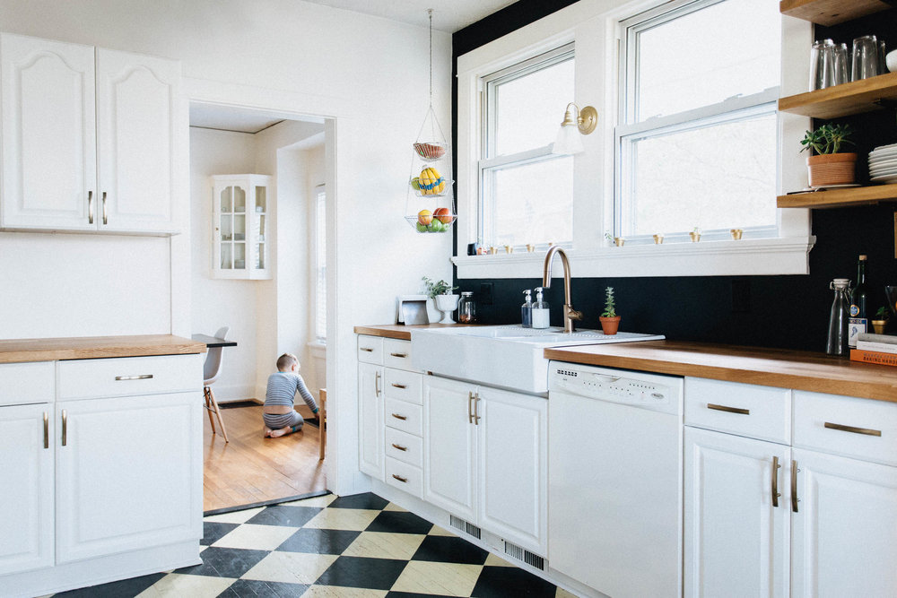 Our diy kitchen remodel natural honest artistic the for Black and gold kitchen
